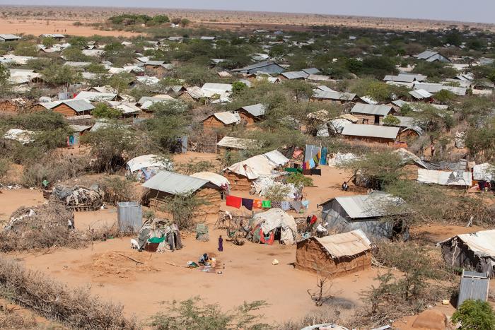 Flyfoto av Dagahley-delen av flyktningeleiren Dadaab i Kenya. Foto: Tom Maruko