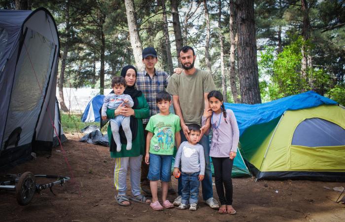 Syriske flyktninger i Evzeni, Hellas.